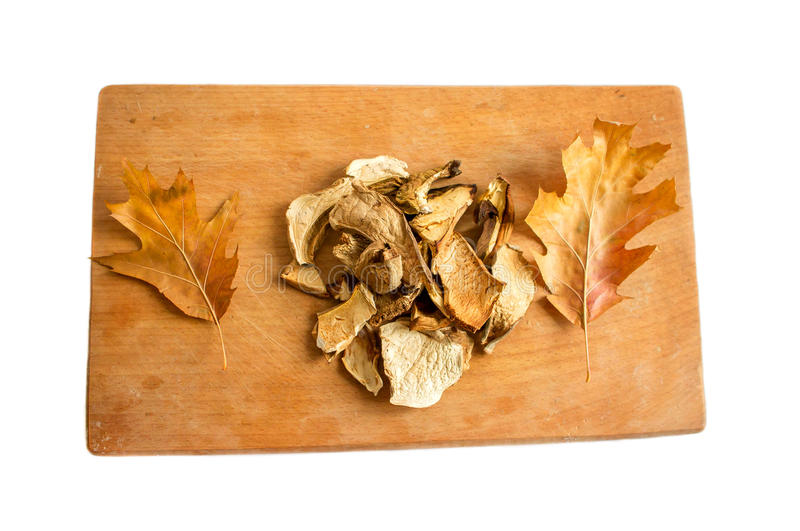 Mushrooms and leaves. On a cutting board isolated royalty free stock images