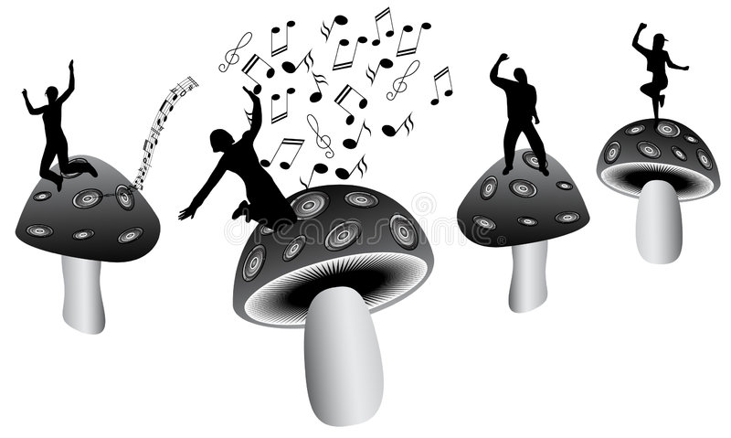 Download Mushrooms and music stock vector. Illustration of vegetable - 5398487