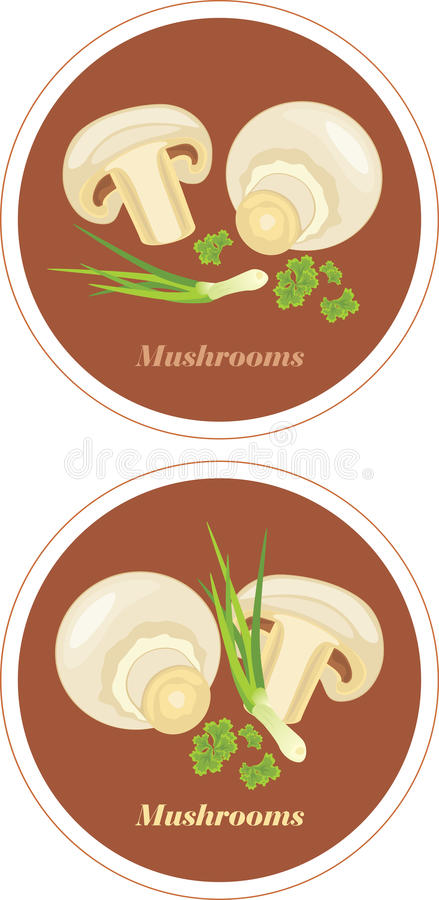 Download Mushrooms With Parsley And Chives. Icons For Menu Design Stock Vector - Illustration of fresh, natural: 39504946
