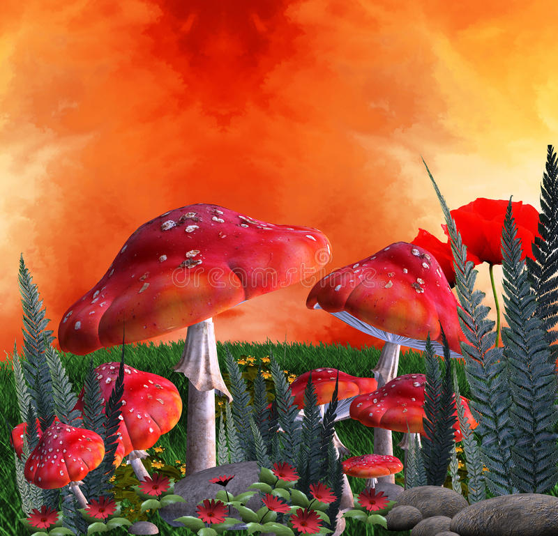 Download Mushrooms place stock illustration. Image of place, fantasy - 21465387