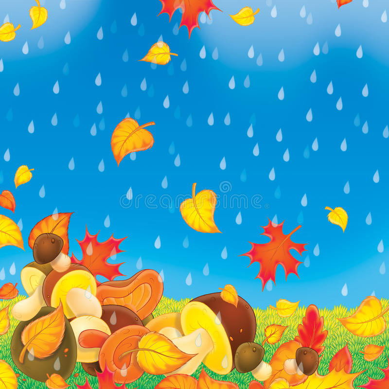Mushrooms in the rain royalty free illustration