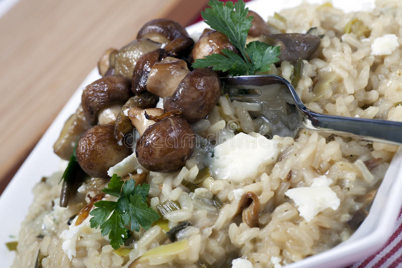 Mushrooms and Risotto. Mushroom risotto with sauteed mushrooms and crumbled cheese royalty free stock image
