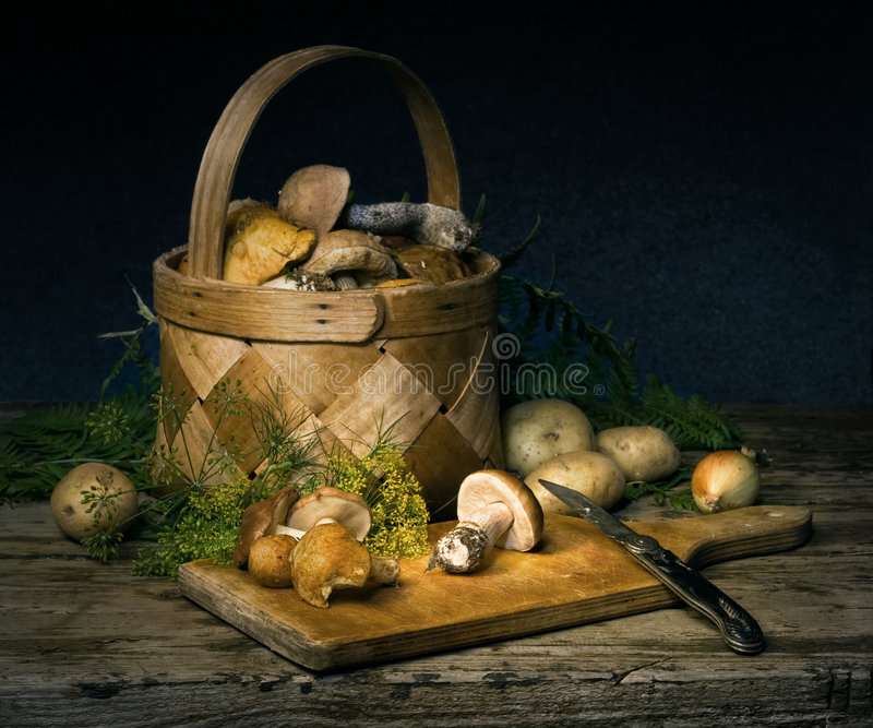 mushrooms and spices stock photo