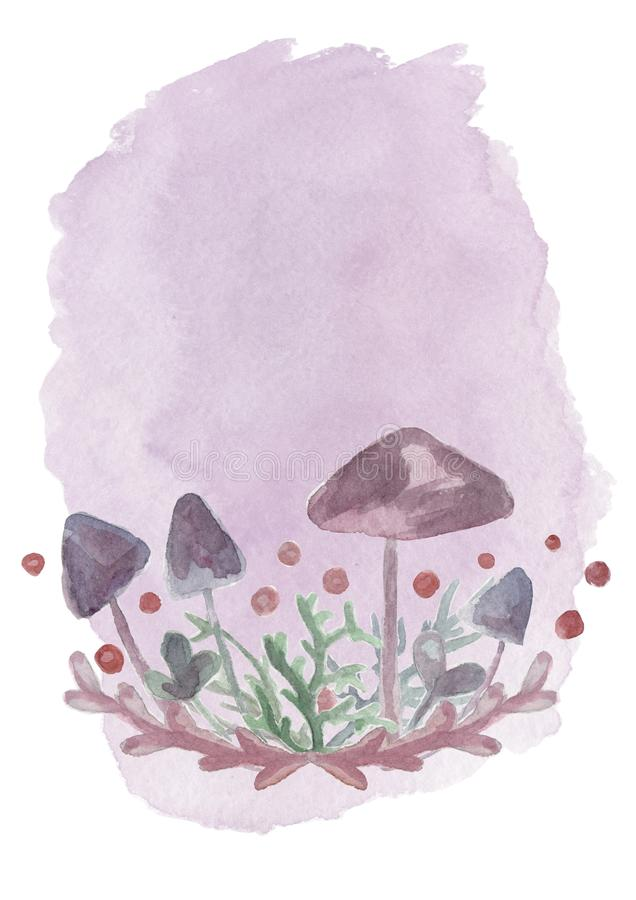 Mushrooms for witches potions. Toadstool for poster and halloween card stock illustration