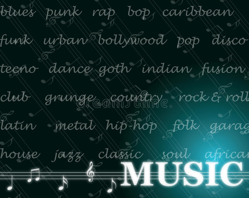 Music. Abstract and overview of the most popular music styles of the 20th and 21st century stock illustration