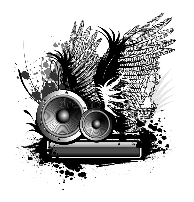Music. Illustration with wing and blot royalty free illustration