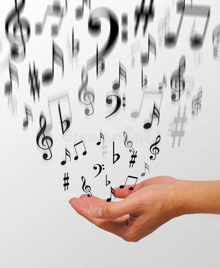 Music. A photo of a woman releasing music notes
