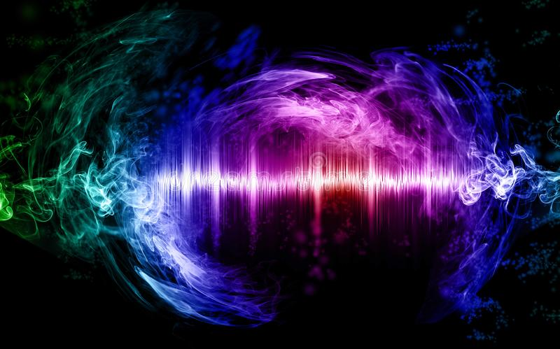 Abstract soundwave with smoke shapes. Music abstract concept illustration, sound wave and smoke colored and glowing, graphic resource royalty free illustration
