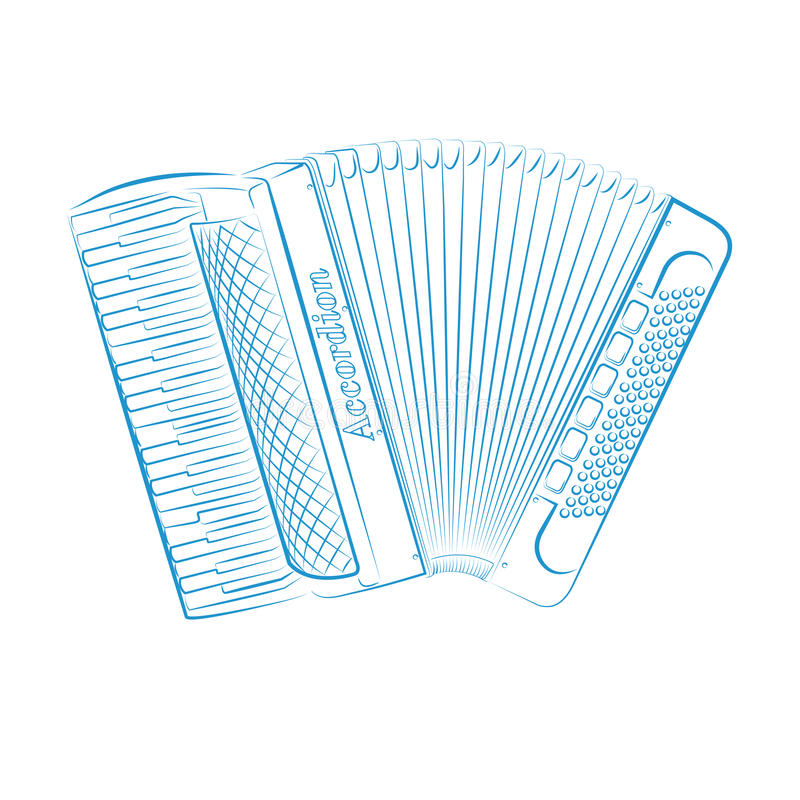Music accordion. Accordion drawn on a white background royalty free illustration