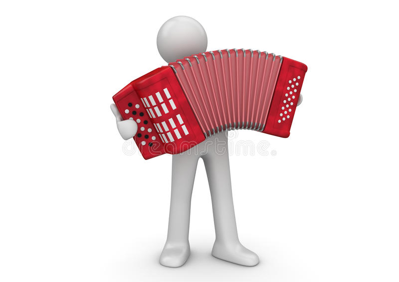 Music - Accordion performer. 3d characters isolated on white background series royalty free illustration