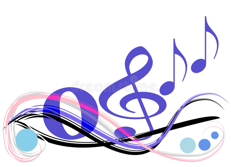 Music in the air. This design has playful waves and different musical signs / notes vector illustration