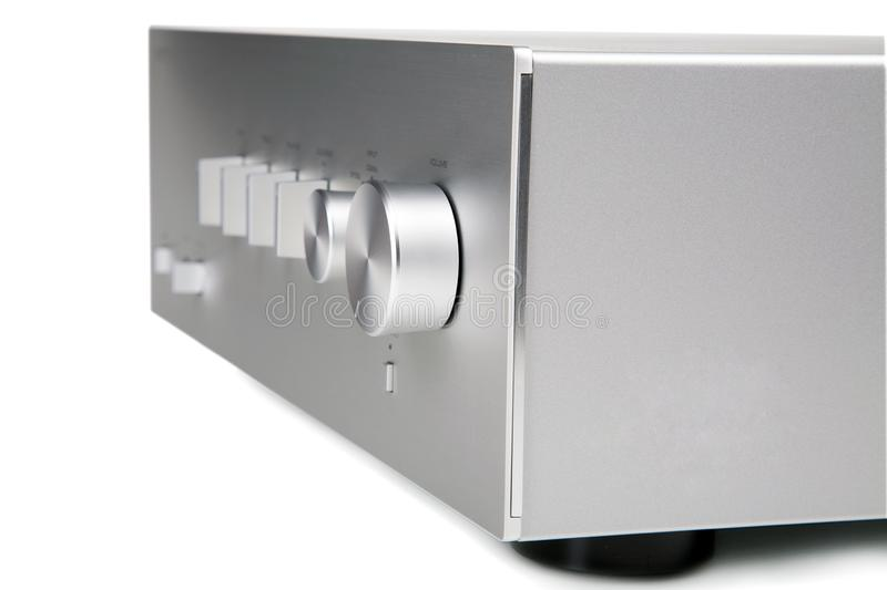 Music amplifier closeup isolated on white. Background stock photos