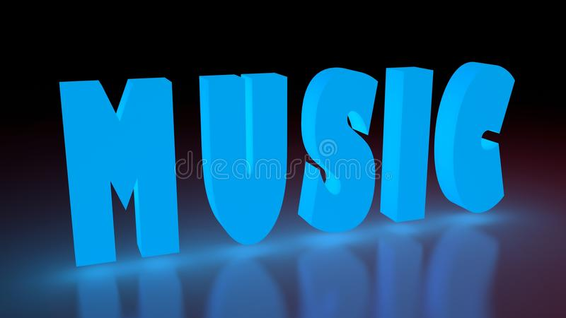 Music. Art blue volume word vector illustration