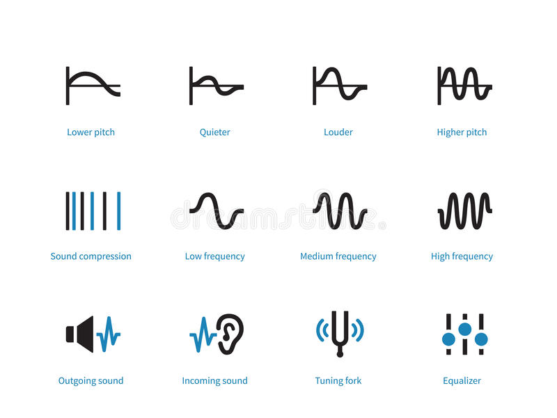 Music and audio types duotone icons on white background. stock illustration