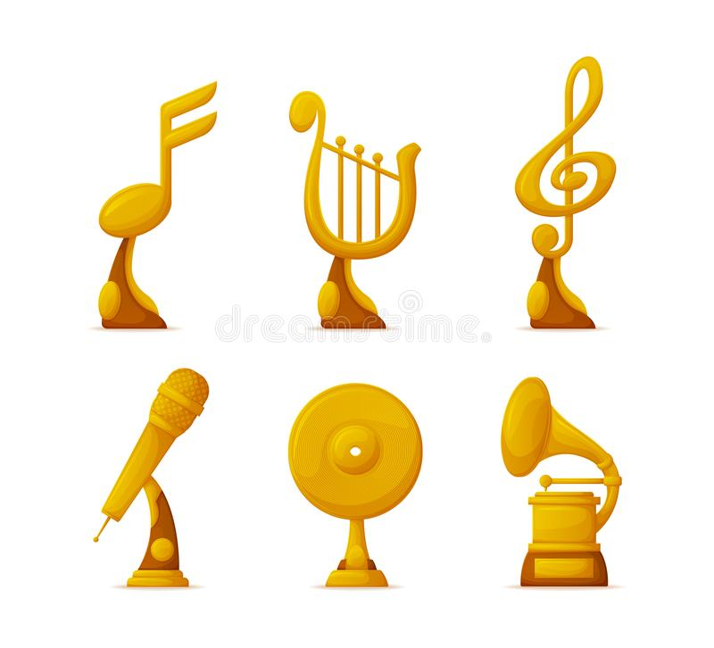 Music Awards or Gold Trophy Cups in Art Industry stock illustration