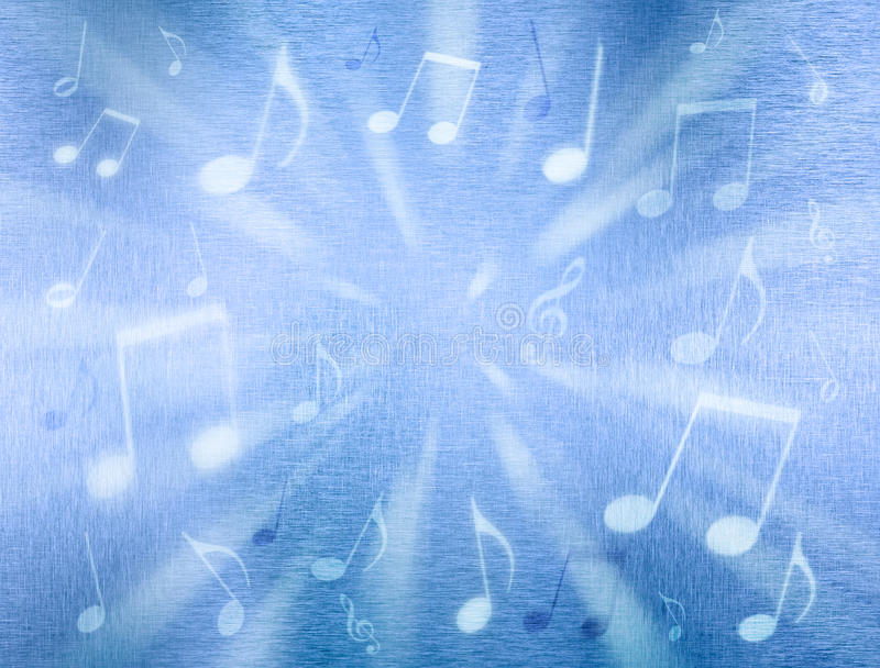 Music Background. A blue metal background with music notes