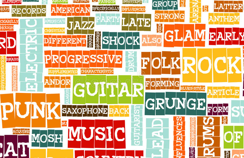 Music Background. With Different Genres and Types royalty free illustration