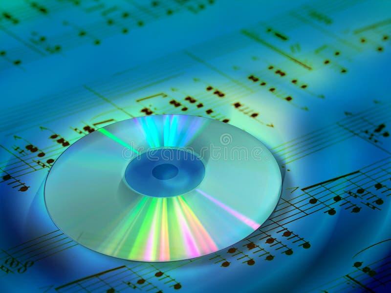Music background. CD and music sheet. Digital illustration royalty free illustration