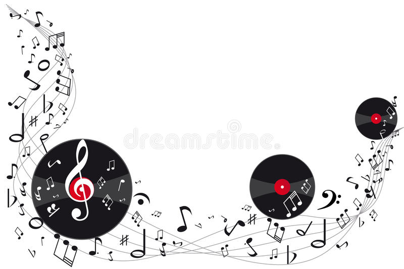 Music background. Vinil and music notes stock illustration