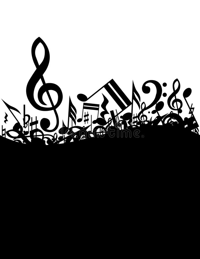 Music background. Black music on the white background royalty free illustration