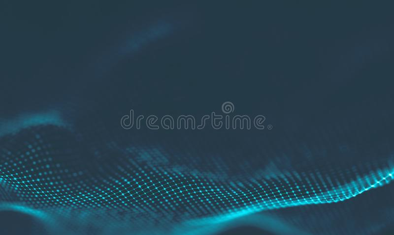 Abstract Music background. Big Data Particle Flow Visualisation. Science infographic futuristic illustration. Sound. Music background. Big Data Particle Flow royalty free stock photo