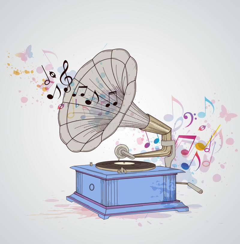 Music background with gramophone and notes. Retro music background with gramophone and notes royalty free illustration