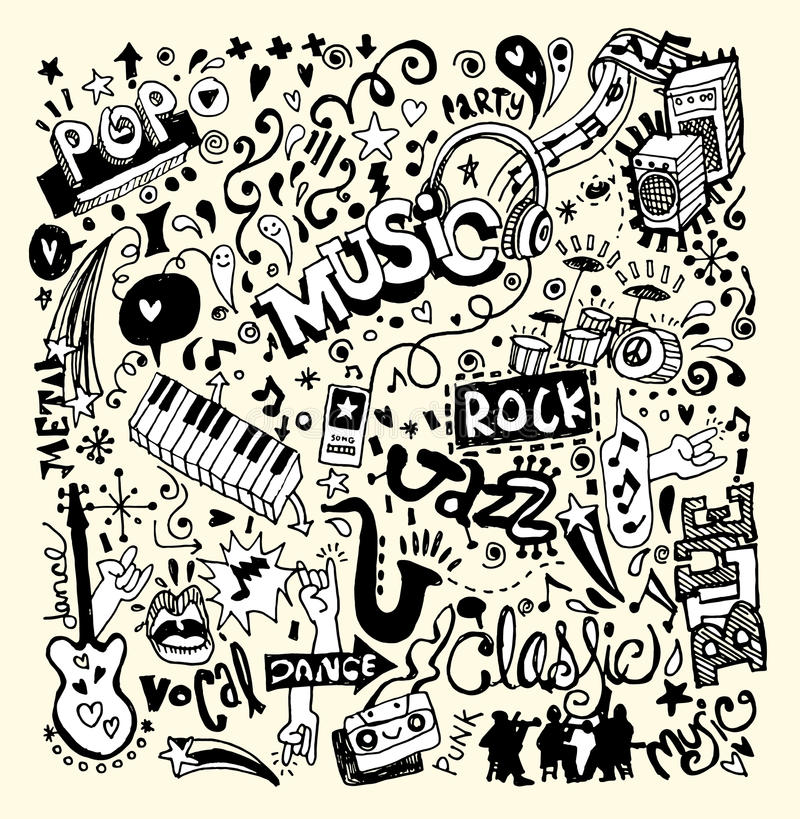 Music Background , Hand drawing Doodle royalty free illustration