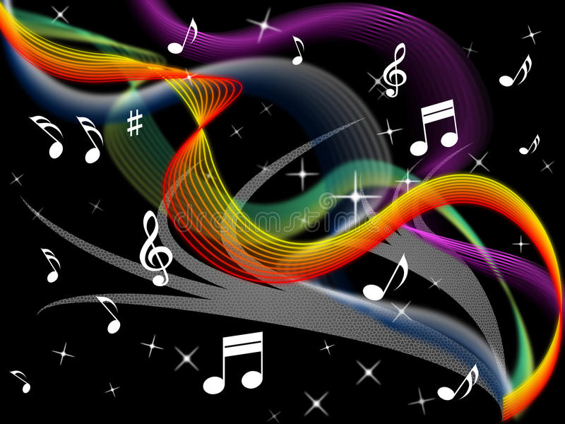 Rainbow Music Background Meaning Colorful Lines And Melody: Music Background Means Melody Instrument And Colorful