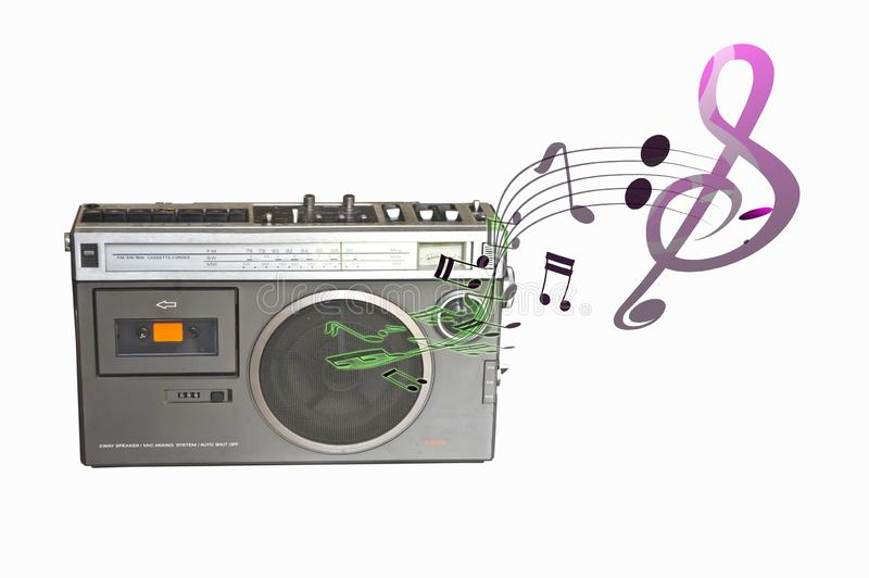 Music background with retro cassette player royalty free stock images