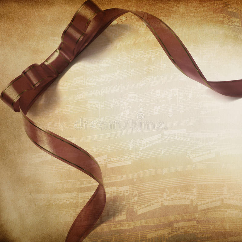 Music Background With Ribbon Stock Photography