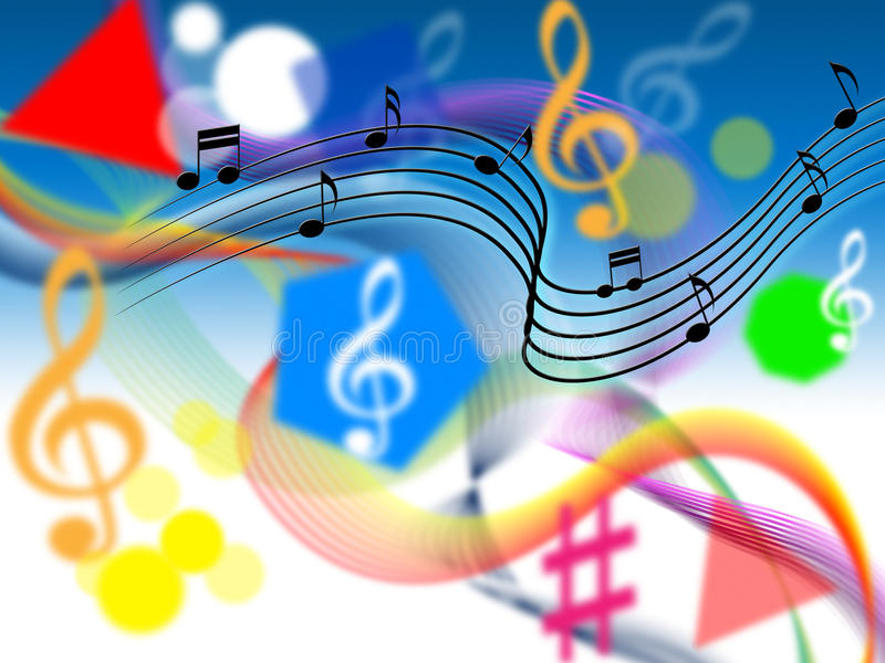 Music Background Shows Harmony Or Playing Tune. Music Background Showing Harmony Or Playing Tune stock illustration