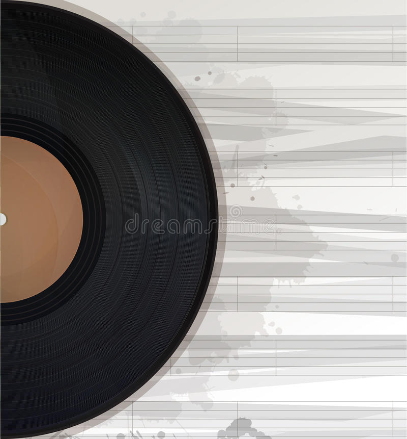 Music background text card. Music record background, text card with copy space vector illustration