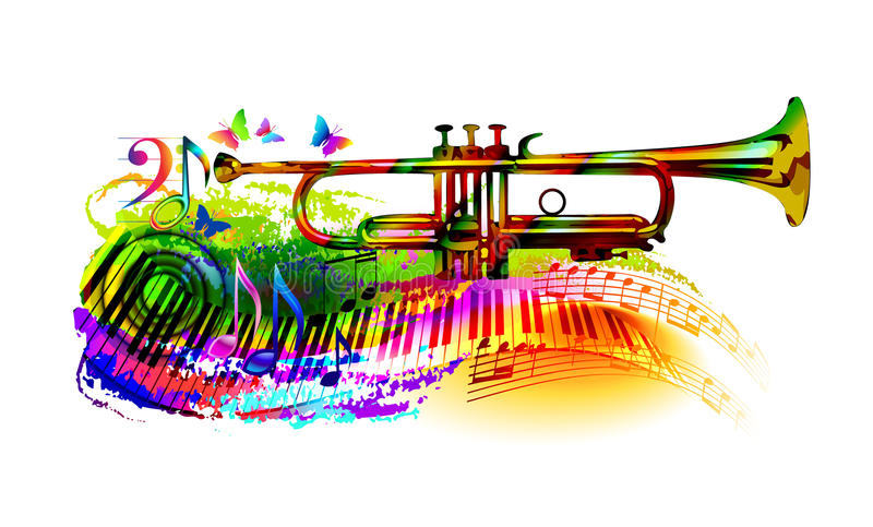 Music background with trumpet. Colorful music background, banner with trumpet, piano, musical notes and butterfly stock illustration