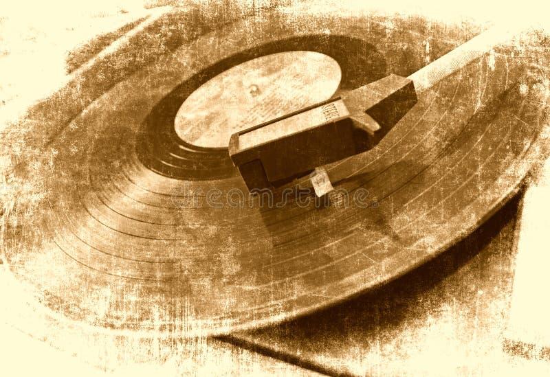 Music background. Vinyl player, grunge illustration royalty free stock photography