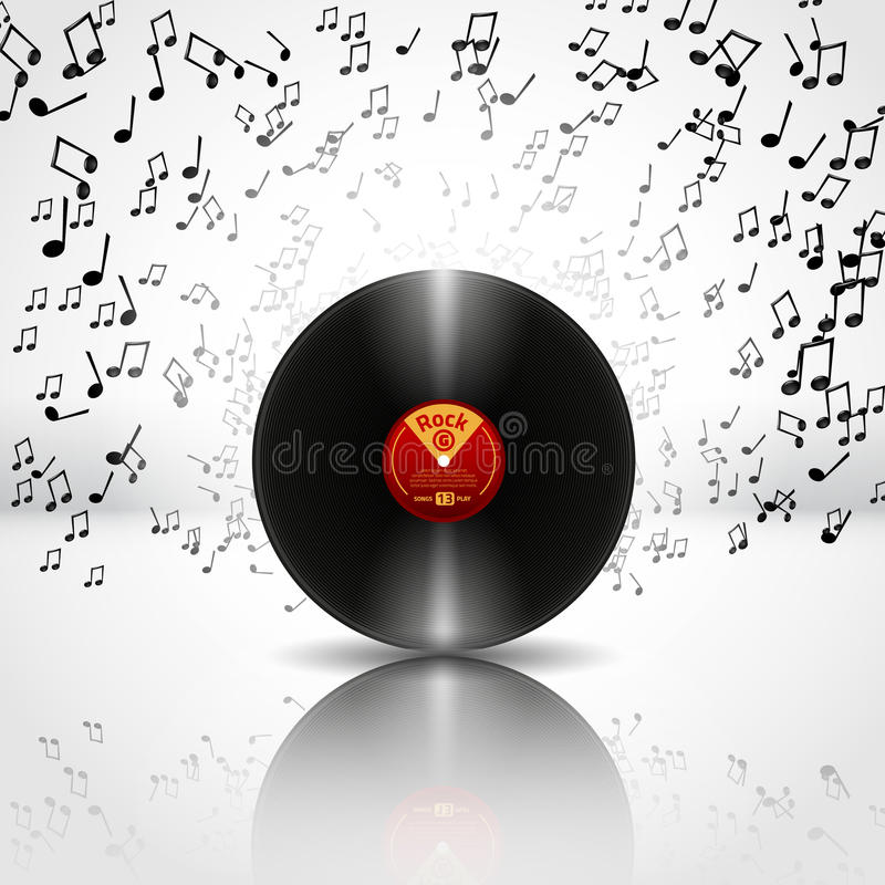 Music Background with Vinyl - Vector. And place for text stock illustration