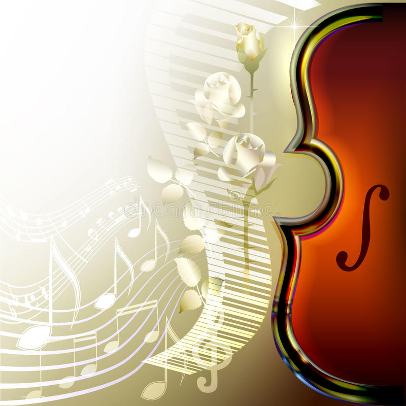 Music Vector Background With Treble Clef And Roses For