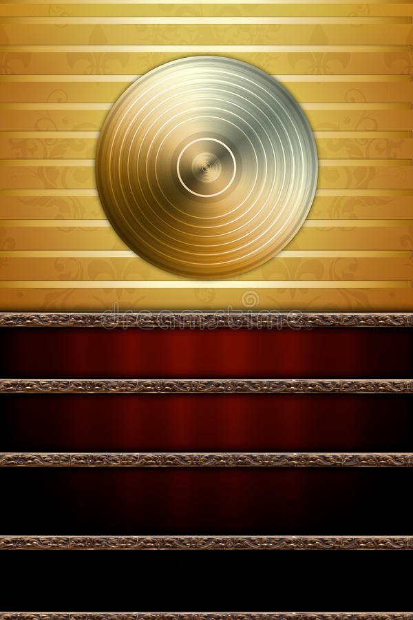 Free Music Background With Golden Disc Royalty Free Stock Image - 16697036