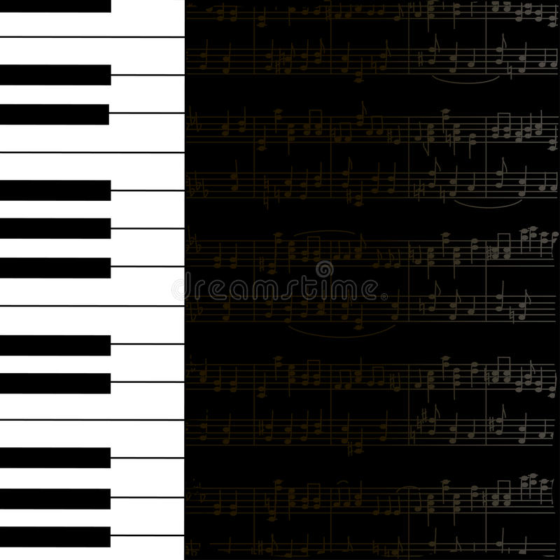 Free Music Background With Keyboard And Stave Notes Royalty Free Stock Photos - 31409108