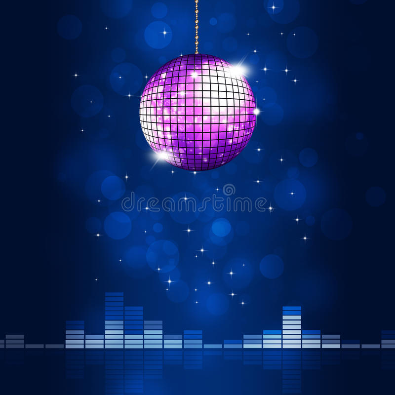 Music Ball Blue Background. Music party disco ball on blue background with bokeh lights and equalizer stock illustration