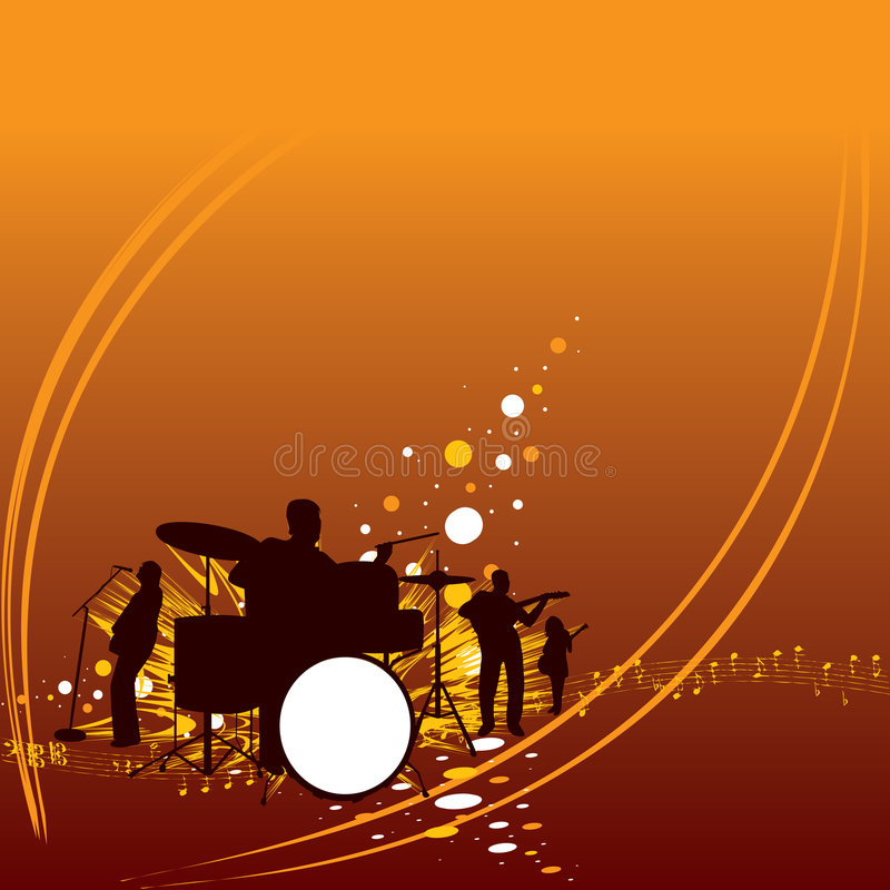 Music band. Plays at night with lighting effects royalty free illustration