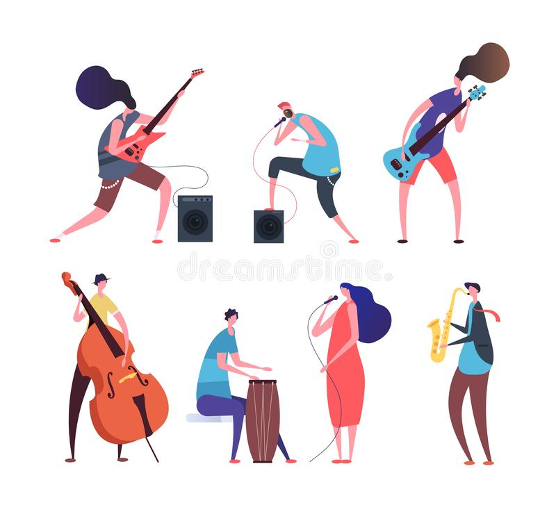 Music band. Cartoon musicians, punk guys with musical instruments playing rock music on stage vector set isolated. Illustration of guitarist with instrument stock illustration