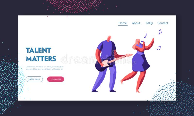 Music Band Duet Performing on Stage. Young Rock Guitar Player Accompany to Singing Girl during Entertainment or Talent Show. Website Landing Page, Web Page royalty free illustration
