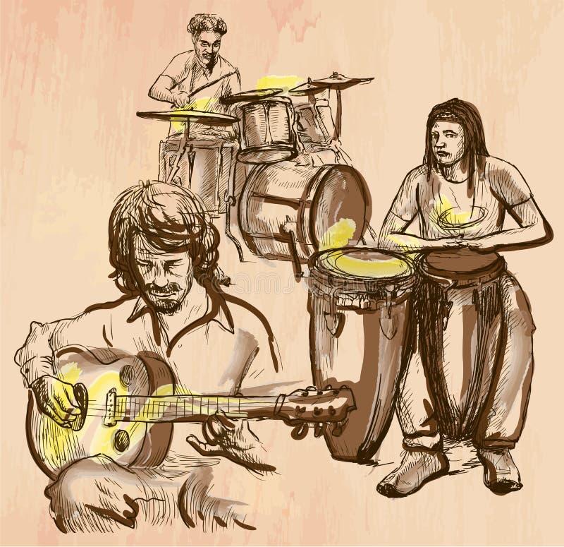 Music band - An hand drawn vector stock illustration