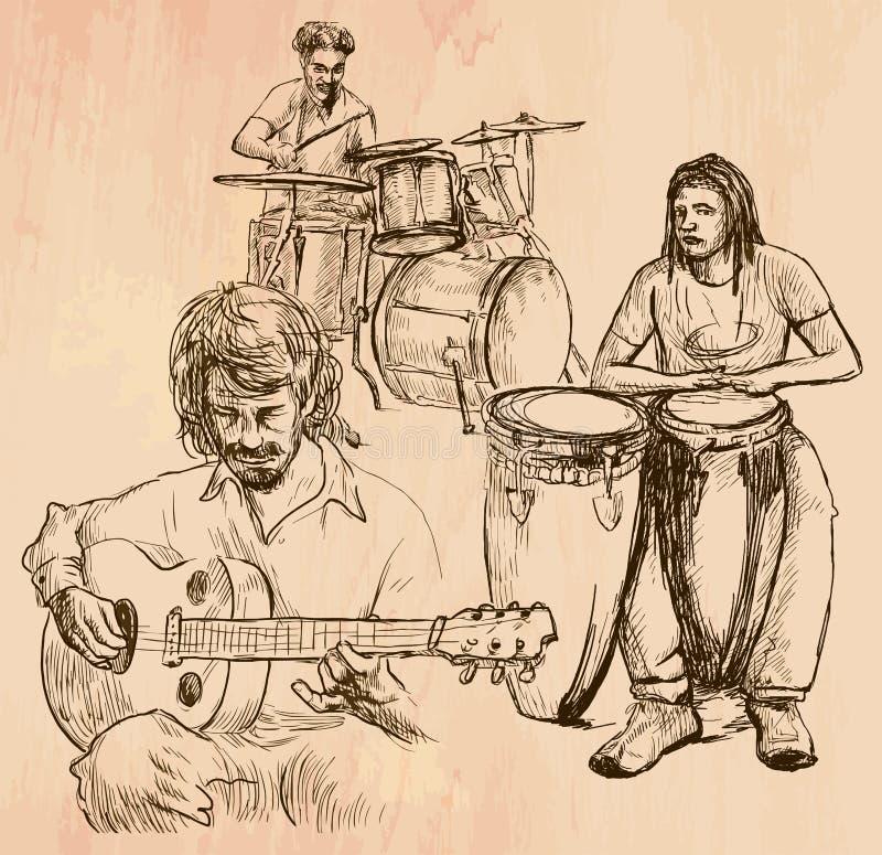 Music band - An hand drawn vector vector illustration
