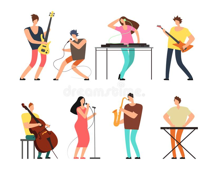 Music band musicians with musical instruments playing music on stage vector set isolated. Concert group on stage, musical singer and performance illustration stock illustration