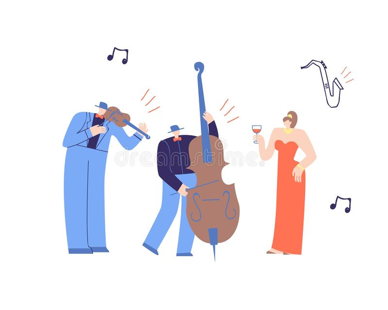 Music People Playing Classic Music Flat Cartoon. Music Band Playing Classic Music. Flat Cartoon with Performing Man Violinist, Contrabass Player and Beautiful vector illustration