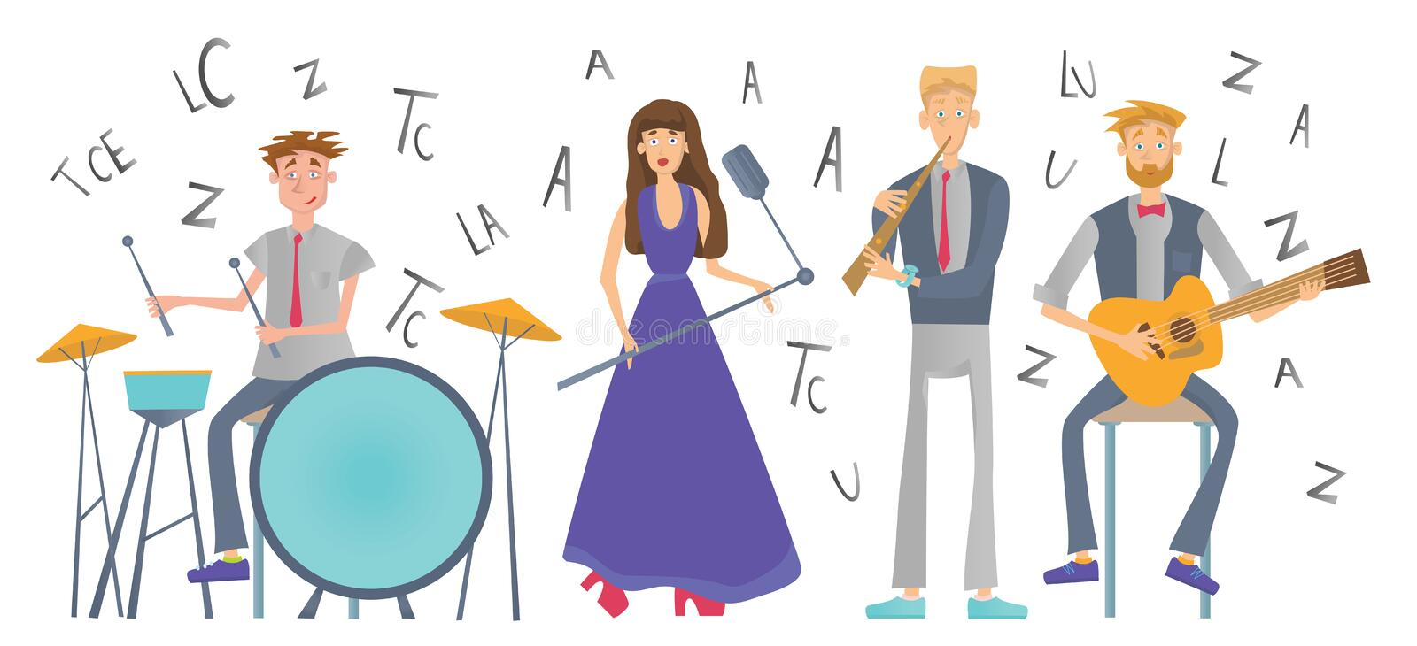 Music band playing the song. Drummer, singer, guitarist and flutist. Vector illustration, isolated on white background. Jazz Music band playing the song vector illustration