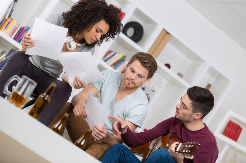 Music band rehearsal friendship together stock photo