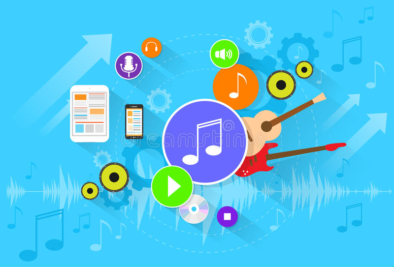 Music banner color icon flat set vector vector illustration