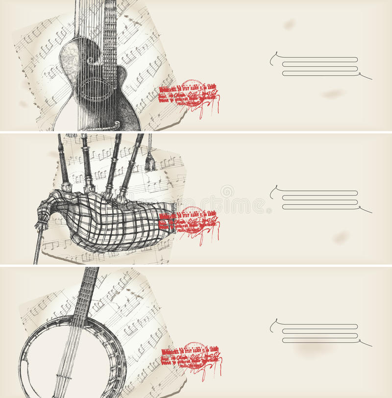 Music banners -traditional instruments with score